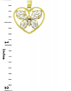 Two-Tone Gold Butterfly & Heart Charm Pendants