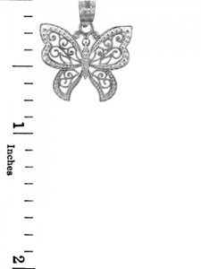 Silver Butterfly Charm, filigree accent