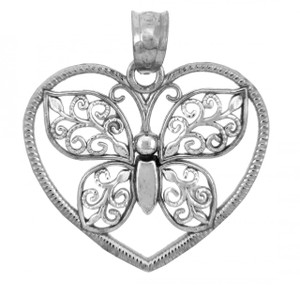 Butterfly & Heart Silver Charms Pendants