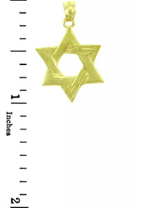 Jewish Charms and Pendants - Star of David Textured Yellow Gold Pendant
