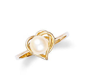 Gold Heart Shaped Pearl Ring