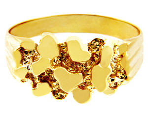 Men's Strong Solid Gold Nugget Ring