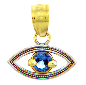 Sapphire Evil Eye in Two Tone Gold