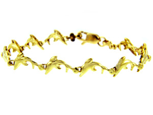 Yellow Gold Bracelet - The Charm Dolphin Bracelet