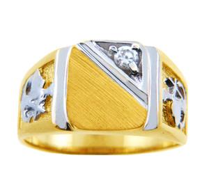 Men's Solid Gold Signet CZ Ring