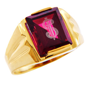 Men's Gold Rings - The Sword Garnet and Gold Ring