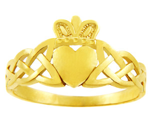 Gold Claddagh Ring with Trinity Band.  Available in 14k and 10k.