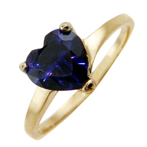Ladies Rings - Gold Ring with Amethyst Heart Gemstone