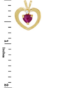 Love and Heart Gold Pendants - Gold Heart Pendant with Ruby and Cubic Zirconia
