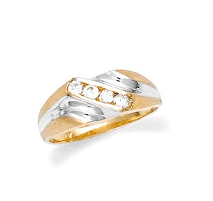 Gold Two-Tone Cubic Zirconia Ring