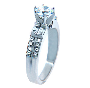 Ladies Solitaire CZ Engagement White Gold Ring with Baguettes
