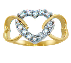 Valentines Special - Ladies CZ Heart Times Three Gold Ring