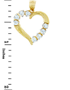 Gold Pendants - Gold Heart Pendants with 8 Cubic Zirconias