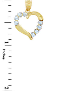 Gold Pendants - Solid Gold Heart Pendant with Eight Cubic Zirconias