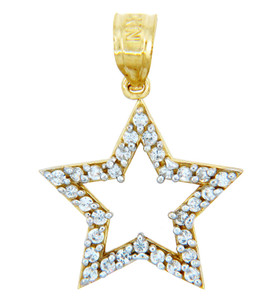 Gold Pendants - Gold Star Pendant Emblazoned