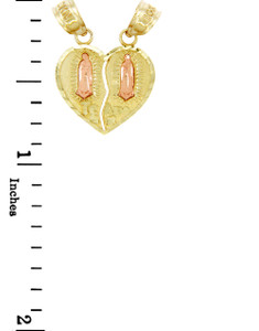 Gold Pendants - Two Tone Guadalupe Te Amo Breakable Gold Heart Pendant