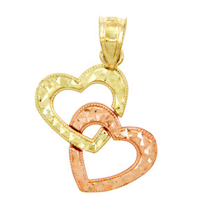 Gold Pendants - Two Tone Gold Hearts with Diamond Cuts