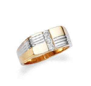 Two-tone gold men's cz ring in 10k or 14k gold.