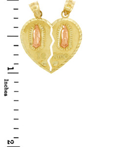 Gold Pendants - Guadalupe Te Amo Breakable Two Tone Gold Heart Pendant