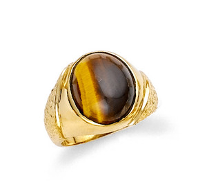 Circle tiger eye men's ring in 10k or 14k yellow gold.