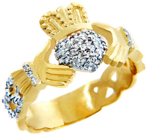 Gold Claddagh Rings with Diamonds .50 carats.  Available in 14k and 10k.