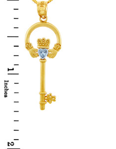 """Gold Claddagh Key Pendant with Diamond (w 18"""" Gold Chain)"""