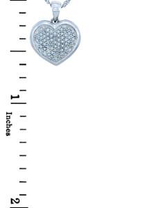 Valentines Special Heart Diamonds - 10K White Gold Heart Pendant with Diamonds (w Chain)