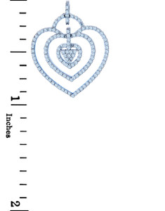 Valentines Special Heart Diamonds - White Gold Triple Heart Pendant with Diamonds (w Chain)