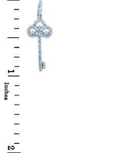 Valentines Special Heart Diamonds - White Gold Key Pendant with Diamonds (w Chain)