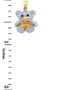Valentines Special Heart Diamonds - Gold Teddy Bear Pendant with Diamonds (w Chain)