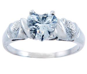 Ladies CZ Rings - Aqua Cubic Zirconia Heart Ring in Gold