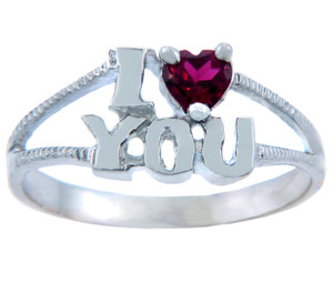 Ladies CZ Rings - I Heart You CZ Ring in Gold