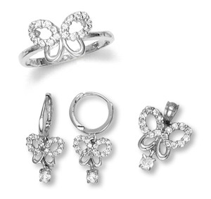 White Gold Butterfly Set