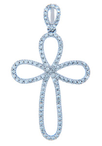 Gold Loop Cross Pendant with Diamonds