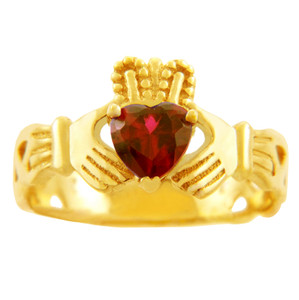 Gold Claddagh Trinity Band Ring with Ruby Birthstone.  Available in 14k and 10k gold.