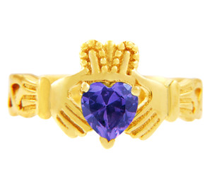 Claddagh Trinity Band Ring in Gold with Amethyst Birthstone.  Available in 14k and 10k gold.