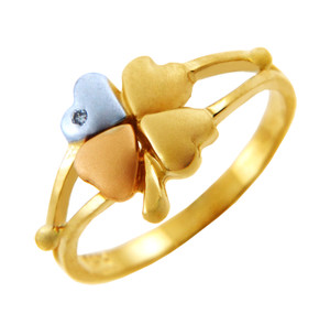 Tri-Tone Gold Clover CZ Celtic Ring