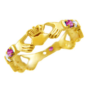 Gold Claddagh Ring with Pink and Clear Cubic Zirconias.  Available in your choice of 14k or 10k Gold.