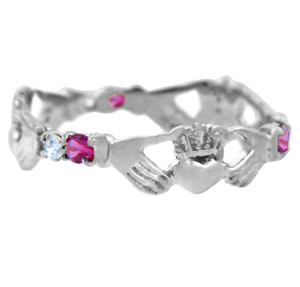Solid White Gold Claddagh Ring with Pink and Clear Cubic Zirconias