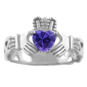 Silver Claddagh Trinity Band with Amethyst CZ Heart