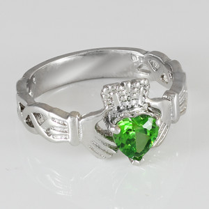 Silver Claddagh Trinity Band with Peridot Green CZ Heart