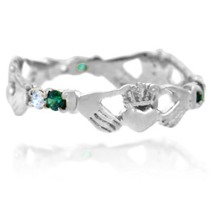 Silver Claddagh Ring with Green and Clear Cubic Zirconias