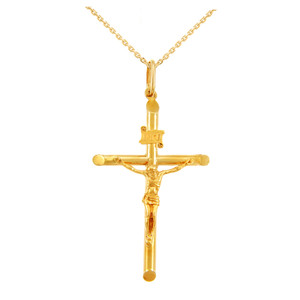 Gold Tubular Cross Charm Catholic Crucifix Pendant Necklace