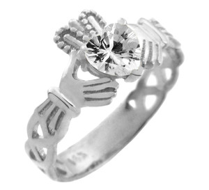 White Gold Claddagh Trinity Band with White Clear CZ Heart