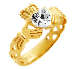 Claddagh Trinity Band Ring with April Birthstone.  Available in 14k and 10k Gold.
