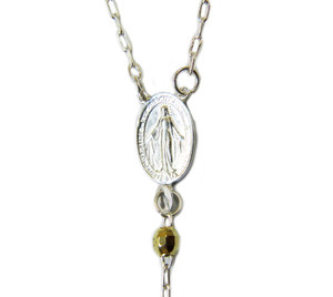 Sterling Silver Tri-Color Silver Rosary Beaded Necklace 26 Inch