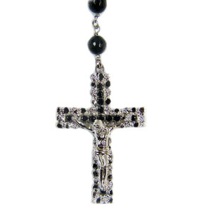 Sterling Silver Black Onyx Rosary Beaded Necklace with Black and White Diamonds 40 Inch