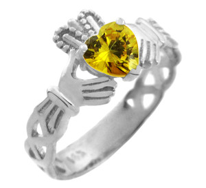 Silver Claddagh Trinity Band with Citrine Yellow CZ Heart