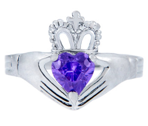 Silver Claddagh Ring with Alexandrite Birthstone.