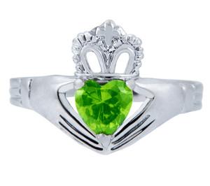 Silver Claddagh Ring with Peridot Birthstone.